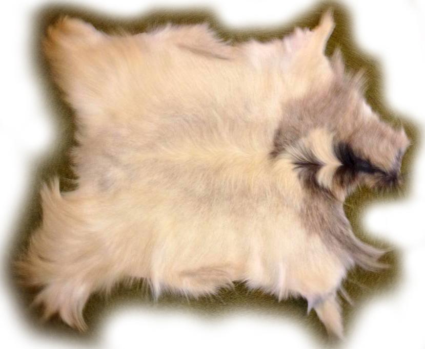 Ziegenfell weiß-grau meliert, langhaarig