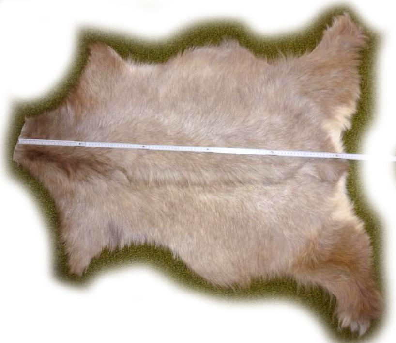 Ziegenfell grau-beige, langhaarig