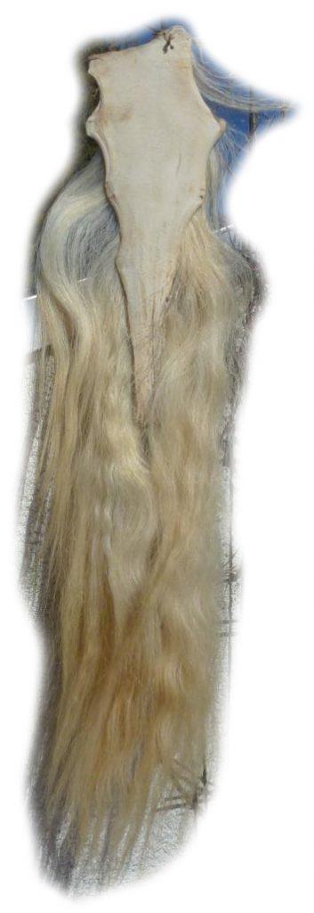 Pferdeschwanz blond 110 cm Lederseite