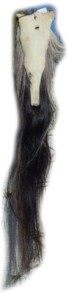 Pferdeschweif schwarz mit grau 110 cm Lederseite