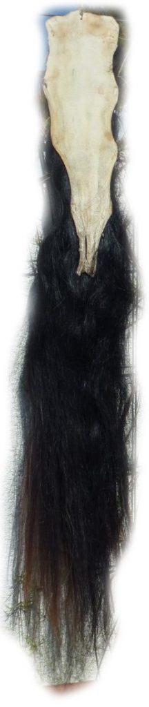 Pferdeschweif Schwarz 150 cm Lederseite
