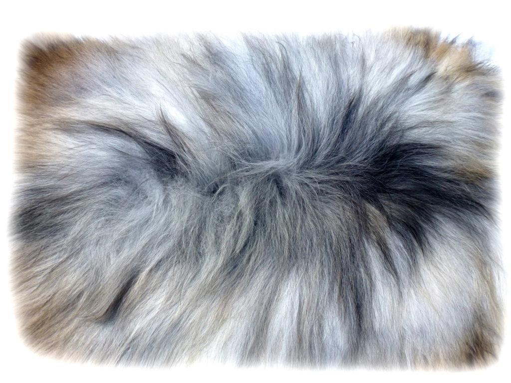 Islandschaffell beige-grau-braun Rückendetail