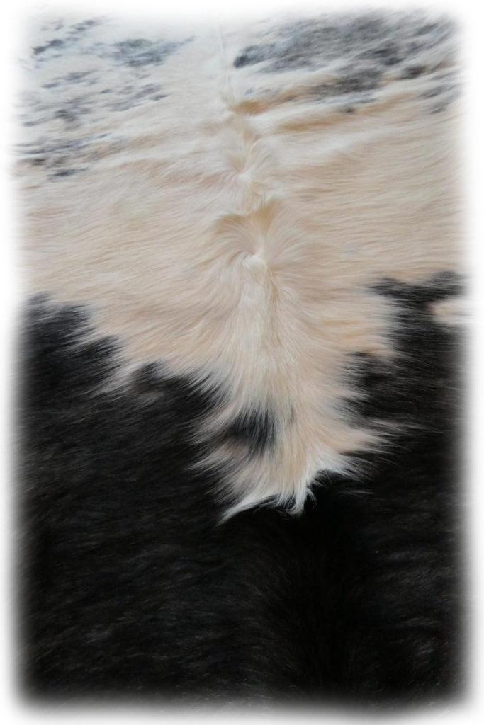 Stierfell Weiß Schwarz gefleckt Nackenhaardetail